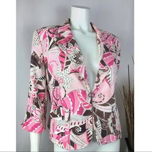 Women's Brown Brocade Blazer Jacket By Nine & Co